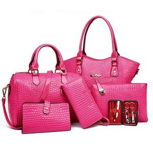 My Bag Lady Online Bags - Embossed Croc Patent Faux Leather Bag Set